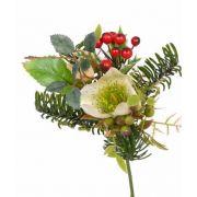 Mazzo sintetico LILLY, rose di Natale, bacche, crema, 17cm, Ø12cm