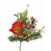 Mazzo sintetico LILLY, rose di Natale, bacche, rosso, 17cm, Ø12cm