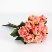 Mazzo di rose finte MOLLY, rosa-giallo, 35cm, Ø20cm