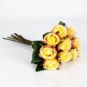 Mazzo di rose finte MOLLY, giallo-rosa, 35cm, Ø20cm