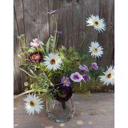 Mazzo di gerbere artificiali MAKANA, ranuncoli, rose, bianco-viola, 45cm