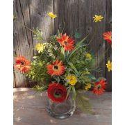 Mazzo di gerbere artificiali MAKANA, ranuncoli, rose, arancione-giallo, 45cm