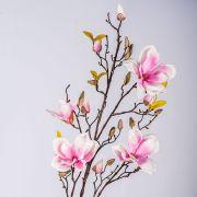 Ramo di magnolia artificiale LILO, fucsia-bianco, 110cm, Ø5-9cm