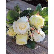 Bouquet di rose artificiali MOLLY, crema-verde, 30cm, Ø15cm