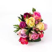 Mazzo di rose finte MOLLY, fucsia-crema, 30cm, Ø20cm