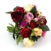 Mazzo di rose finte MOLLY, rosa-crema-rosso, 30cm, Ø25cm