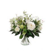 Mazzo di fiori artificiale FEME, bianco-verde, 60cm, Ø40cm
