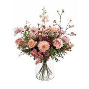 Mazzo di fiori artificiale FEME, rosa-verde, 65cm, Ø40cm