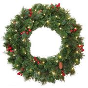 Corona di Natale artificiale BUKAREST, decorata, LEDs, Ø60cm