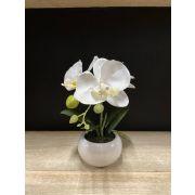 Kunst Phalaenopsis Orchidee KIANY im Keramiktopf, weiß, 20cm
